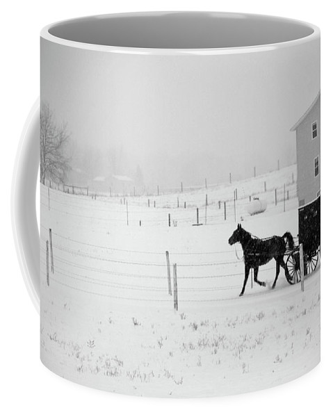 Amish Buggy Coffee Mug featuring the photograph Winter Buggy by David Arment