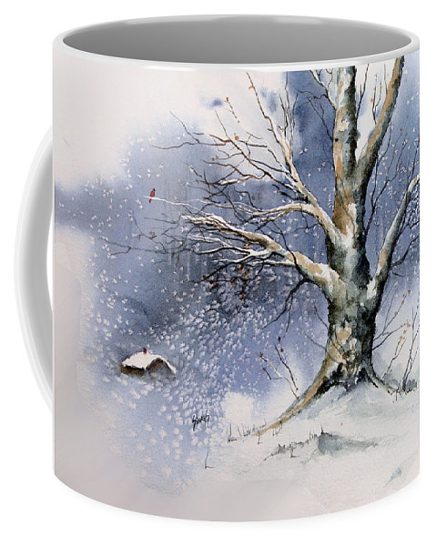 Winter Coffee Mug featuring the painting Winter Tree by Sam Sidders