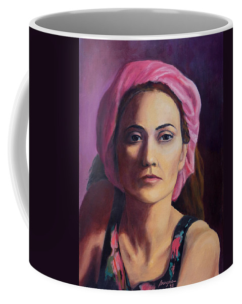 Portrait Coffee Mug featuring the painting Woman In A Pink Turban by Keith Burgess