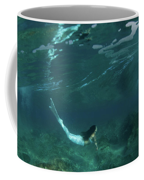 Photography Coffee Mug featuring the photograph Woman Pretending To Be A Mermaid 2 by Panoramic Images