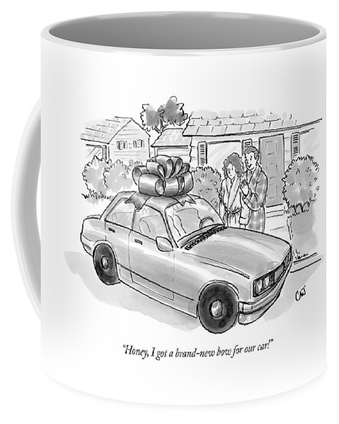 Relationships Consumerism Couple  (couple Looking At Car With Large Bow On Roof.) 122599 Cjo Carolita Johnson Coffee Mug featuring the drawing Honey, I Got A Brand-new Bow For Our Car! by Carolita Johnson