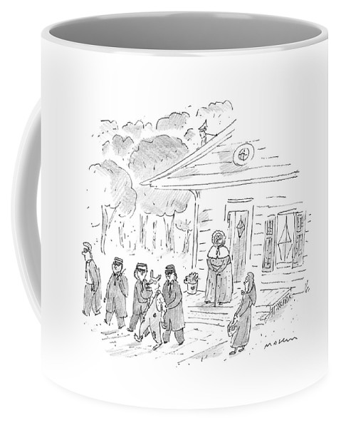 Home Security Coffee Mug featuring the drawing My, My, Grandma, What Tight Security You Have! by Michael Maslin