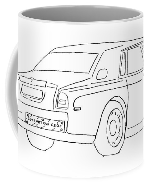 (bumper Sticker On Car Bumper Reads Coffee Mug featuring the drawing New Yorker February 27th, 2006 by Michael Shaw