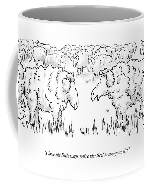 Lambs Talking Animals Domestic  (one Sheep Talking To Another.) 121944 Mtw Mike Twohy Coffee Mug featuring the drawing I Love The Little Ways You're Identical by Mike Twohy