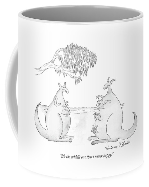 Family Problems Parents Children Kangaroos Talking  (one Kangaroo With Three Pouches Coffee Mug featuring the drawing It's The Middle One That's Never Happy by Victoria Roberts
