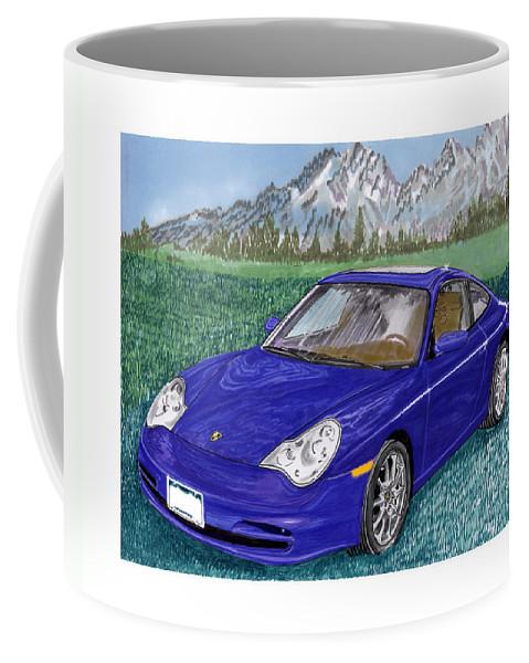 Porsche 996 Coffee Mug featuring the painting 2002 Porsche 996 by Jack Pumphrey