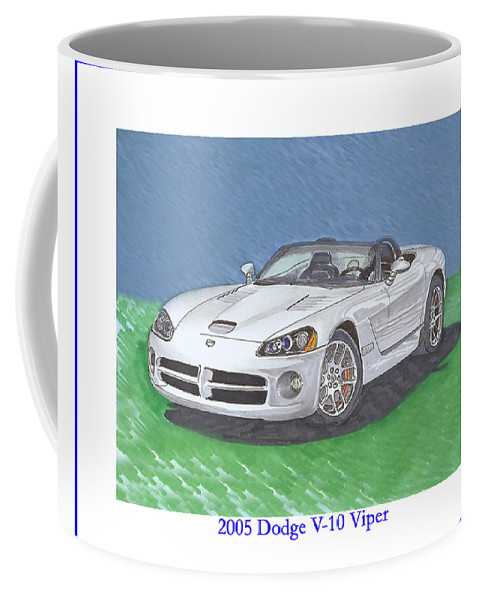 2005 Dodge Viper. Images Of 2005 Dodge Vipers. Coffee Mug featuring the painting 2005 Dodge V-10 Viper by Jack Pumphrey