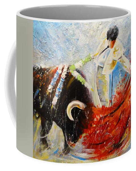 Bullfight Painting Coffee Mug featuring the painting 2010 Toro Acrylics 02 by Miki De Goodaboom