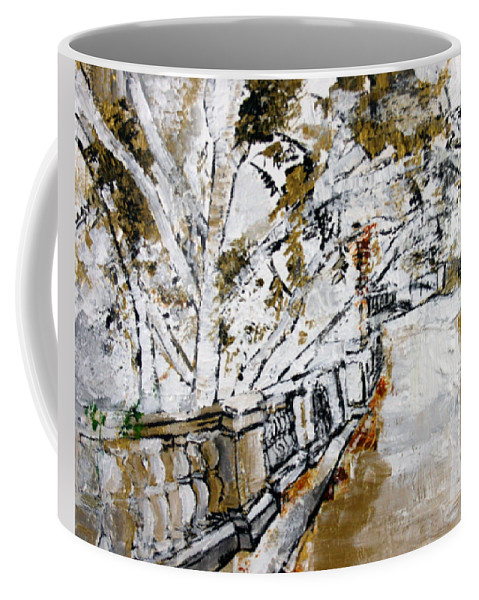 Olive Coffee Mug featuring the painting 2013 007 Road To The Arlington Memorial Bridge by Alyse Radenovic