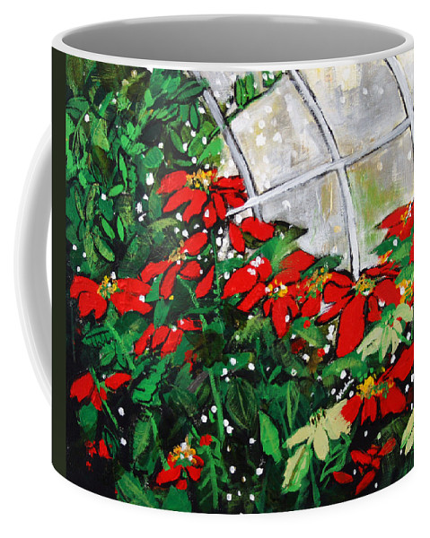 Poinsettias Coffee Mug featuring the painting 2013 010 Poinsettias And Dots Conservatory At The Us Botanic Garden Washington Dc by Alyse Radenovic