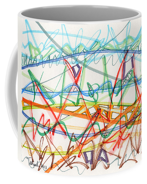 Abstract Coffee Mug featuring the drawing 2013 Abstract Drawing #7 by Lynne Taetzsch