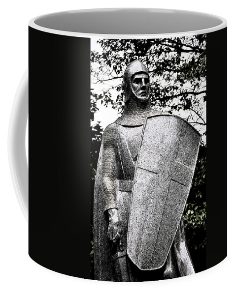 Dark Coffee Mug featuring the photograph 20th Century Gothic Revival Knight Statue Chicago Usa by Sally Rockefeller