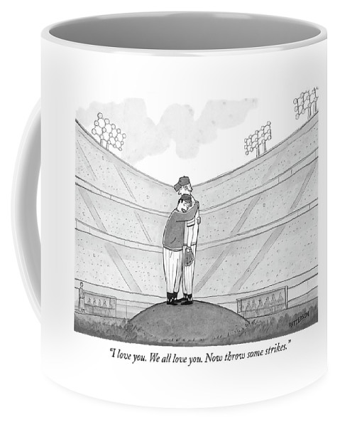 Support Coffee Mug featuring the drawing I Love You. We All Love You. Now Throw Some by Jason Patterson
