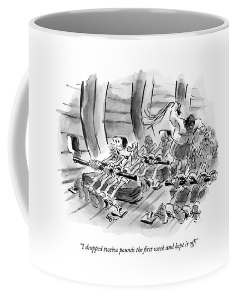 Fitness Olden Days Workers  (one Oarsman To Another On A Slave Ship.) 122168 Llo Lee Lorenz Coffee Mug featuring the drawing I Dropped Twelve Pounds The First Week And Kept by Lee Lorenz
