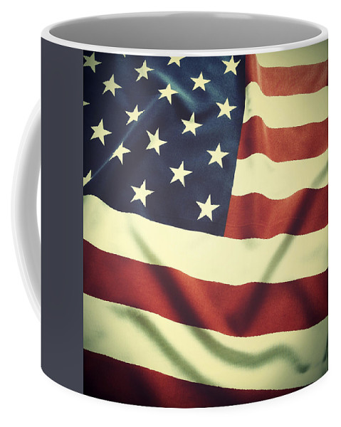 Wrinkled Coffee Mug featuring the photograph American Flag by Les Cunliffe