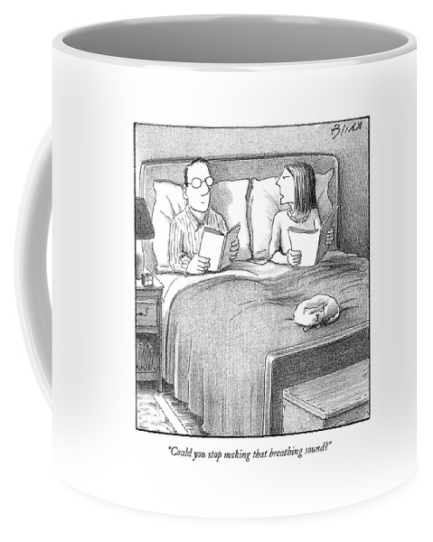 Bed Coffee Mug featuring the drawing Could You Stop Making That Breathing Sound? by Harry Bliss