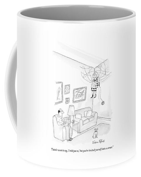 Hobby Coffee Mug featuring the drawing I Don't Want To Say by Victoria Roberts