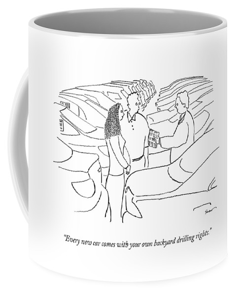 Oil Coffee Mug featuring the drawing Every New Car Comes With Your Own Backyard by Michael Shaw
