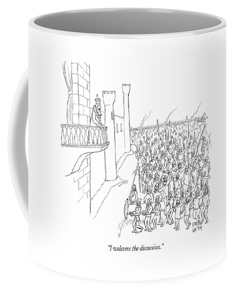 Revolting Coffee Mug featuring the drawing I Welcome The Discussion by Paul Noth
