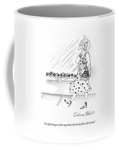 Gym Coffee Mug featuring the drawing I'm Off To The Gym by Victoria Roberts