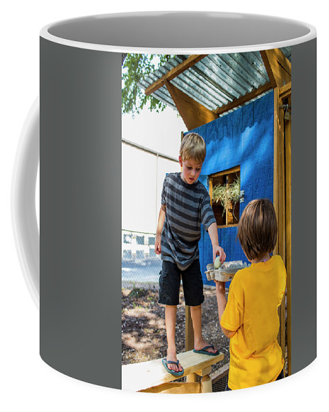 Egg Coffee Mug featuring the photograph A Backyard Chicken Coop In Austin by Michael Hanson