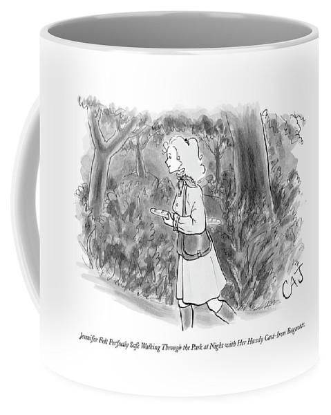 Safety Coffee Mug featuring the drawing Jennifer Felt Perfectly Safe Walking by Carolita Johnson