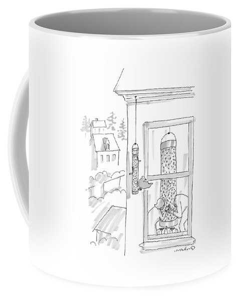 Food Low Cuisine Interiors   (bird Perched On Bird Feeder Watches People Eating Out Of Large Bird Feeder In Their Apartment.) 120694 Mcr Michael Crawford Coffee Mug featuring the drawing New Yorker March 21st, 2005 by Michael Crawford