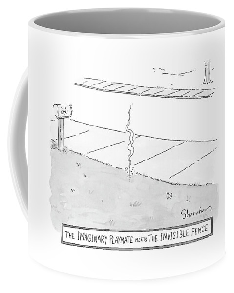 Real Estate   (a Wisp Of Smoke In The Front Yard Of A House. ) 120837 Dsh Danny Shanahan Coffee Mug featuring the drawing The Imaginary Playmate Meets The Invisible Fence by Danny Shanahan
