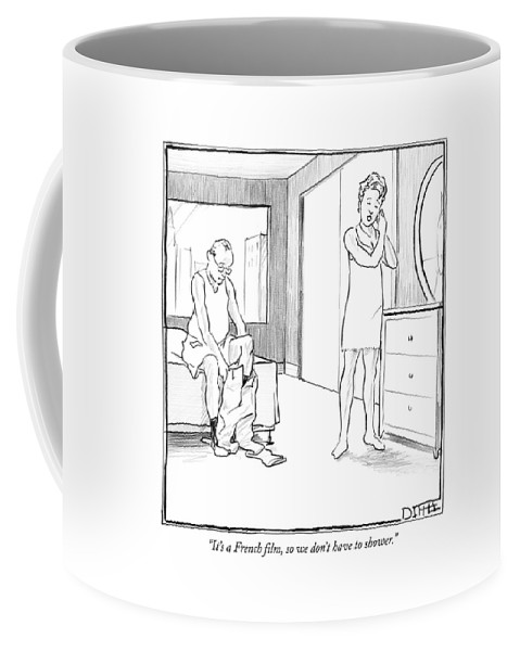 Foreign Coffee Mug featuring the drawing It's A French Film by Matthew Diffee