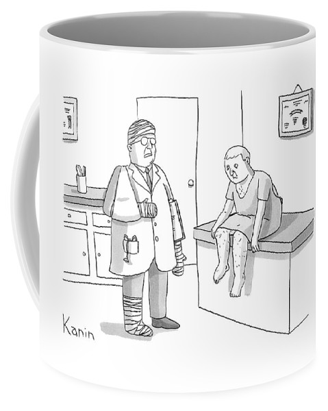 Doctor Coffee Mug featuring the drawing New Yorker February 2nd, 2009 by Zachary Kanin