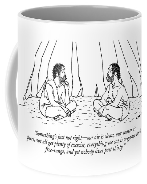 Stone Age Problems Environment Depletion Nature   (one Caveman Talking To Another.) 122479 Age Alex Gregory Coffee Mug featuring the drawing Something's Just Not Right - Our Air Is Clean by Alex Gregory