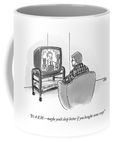 Infomercial Coffee Mug featuring the drawing It's 4 A.m. - Maybe You'd Sleep Better If by Carolita Johnson
