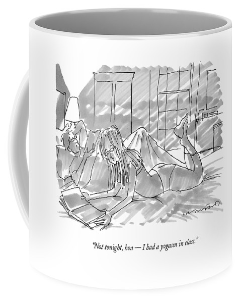 Yoga Coffee Mug featuring the drawing Not Tonight by Michael Crawford