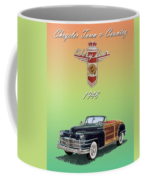 Framed Posters Of Chrysler Town & Country Convertibles.images Of 1941 Plymouth Woodies. Framed Photography Art Of Woody�s. Prints Of Cool Wood-paneled Station Wagons. Wrecked 1946 Ford Woody�s. Prints Of 1941 Plymouth Woodies. Prints Of 1941 Chrysler Town & Country Convertibles. Prints Of 1948 Ford Sportsmen Convertibles. Prints Of 1950 Ford Woody�s. Coffee Mug featuring the painting 1948 Chrysler Town And Country by Jack Pumphrey