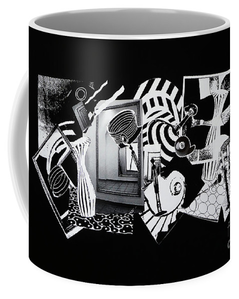 Abstract Coffee Mug featuring the mixed media 2d Elements In Black And White by Xueling Zou