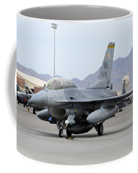 Nellis Air Force Base Coffee Mug featuring the photograph A U.s. Air Force F-16c Fighting Falcon by Riccardo Niccoli