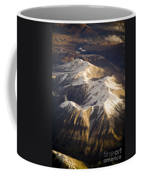 Aspiring Coffee Mug featuring the photograph Aerial Mountains by Tim Hester