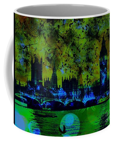 Big Ben Coffee Mug featuring the digital art Big Ben On The River Thames by Marina McLain