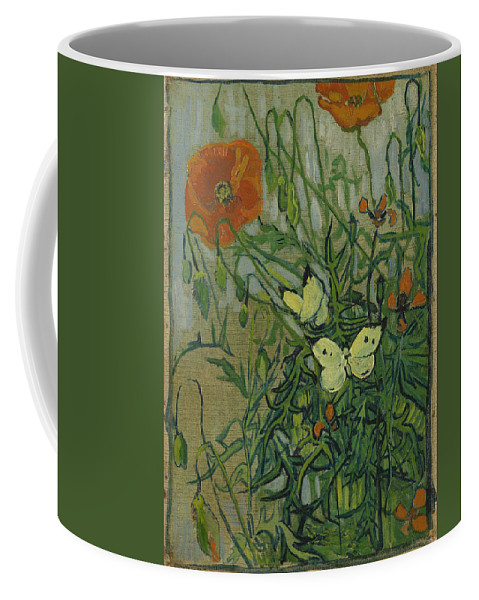 Butterflies And Poppies Coffee Mug featuring the painting Butterflies And Poppies by Vincent Van Gogh