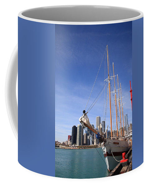 America Coffee Mug featuring the photograph Chicago Skyline And Tall Ship by Frank Romeo