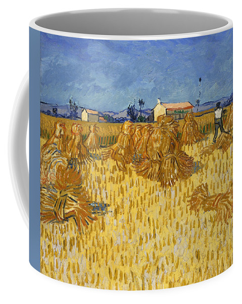 Vincent Van Gogh Coffee Mug featuring the painting Corn Harvest In Provence by Vincent Van Gogh