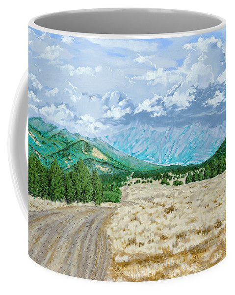 Dirt Road Coffee Mug featuring the painting Country Road by John Wilson