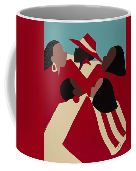 African American Coffee Mug featuring the painting Crimson And Cream by Synthia SAINT JAMES