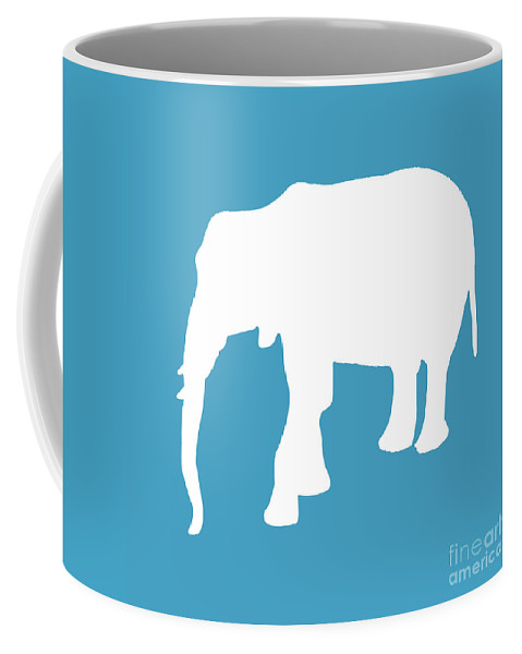 Graphic Art Coffee Mug featuring the digital art Elephant In White And Turquoise by Jackie Farnsworth