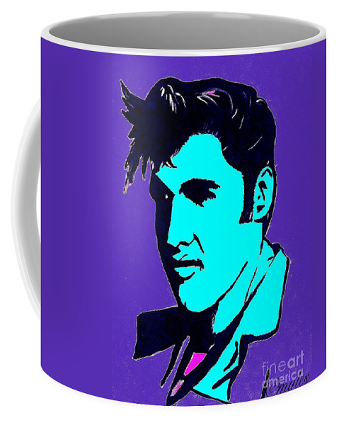 Elvis Coffee Mug featuring the painting Elvis The King by Saundra Myles