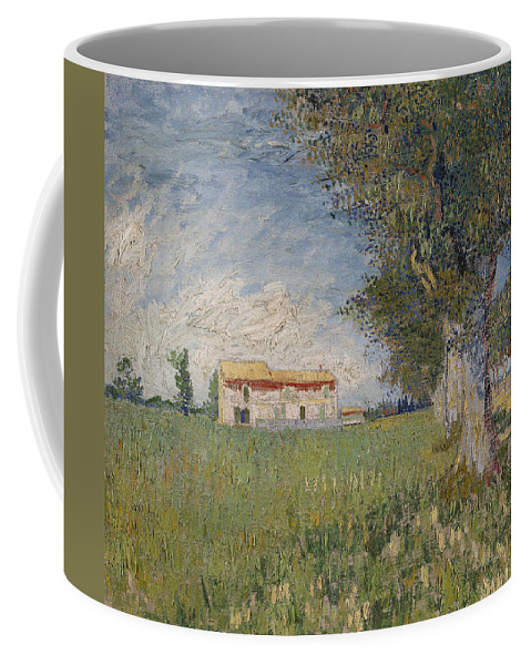 Vincent Van Gogh Coffee Mug featuring the painting Farmhouse In A Wheat Field by Vincent Van Gogh