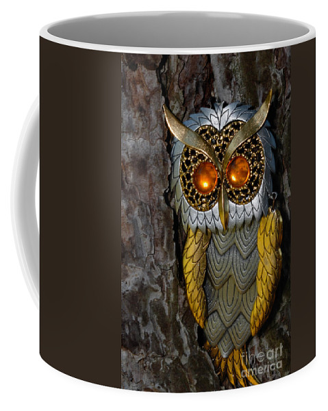 Amber Coffee Mug featuring the photograph Faux Owl With Golden Eyes by Amy Cicconi