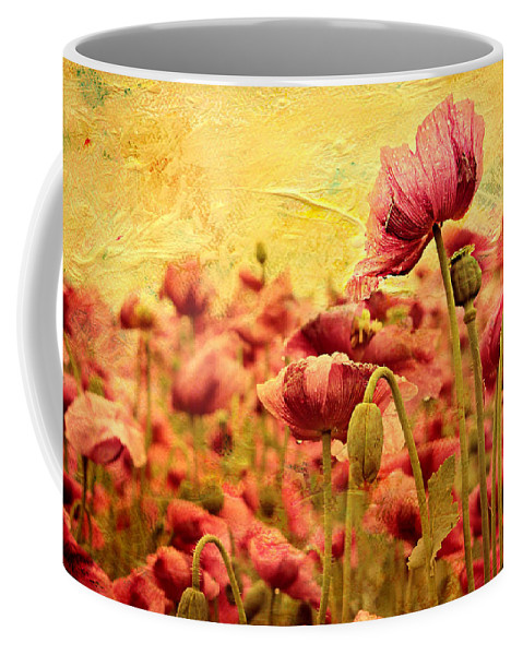Poppy Coffee Mug featuring the mixed media Field Of Poppies by Heike Hultsch