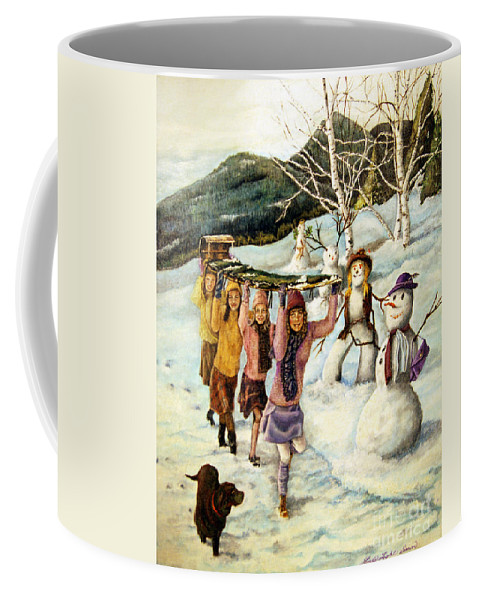 Dog Coffee Mug featuring the painting Frosty Frolic by Linda Simon