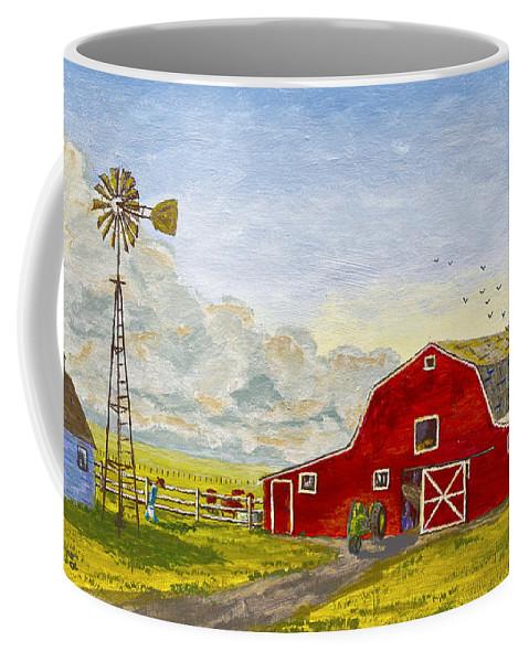 Barn Coffee Mug featuring the painting Grandpa's Farm by Chuck Adams